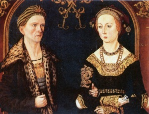 Wedding portrait from Jakob Fugger the rich and his wife Sibylla Artzt from 1498 painted by Thomas (Thoman) Burgkmair1