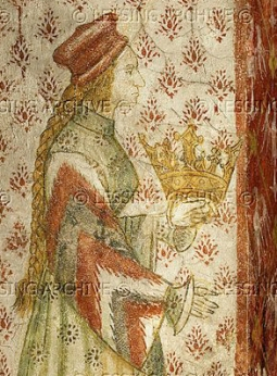 """Margarete Maultasch (""""Satchel-mouth""""),Countess of Tyrol (1318-1369),in a mural in a window embrasure of the """"bath-chamber"""" in Runkelstein castle,South-Tyrol,Italy. The countess,ruler of Tyrol,is shown three times in the Runkelstein murals in scenes of courtlife and hunting."""